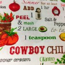 "Cooking Recipe Chili Valance HaNdMaDe Window Topper Cotton fabric 43""W x 15""L"