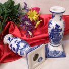BLUE WILLOW Ceramic Candle Holders Set of 2 - 194-941761