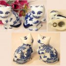 BLUE WILLOW Ceramic Cat Salt and Pepper Shakers Set of 2 - 194-970542