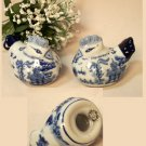 BLUE WILLOW Ceramic Chicken Salt and Pepper Shakers Set of 2 - 194-963405