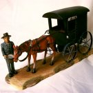 COLLECTIBLE CHARACTERS Amish Man Feeding Horse with Black Buggy - 11-2713