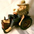 """FARM & TRACTOR Stone Resin """"Hillbilly Asleep On Tractor"""" - 11-2926"""