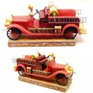 """JIM SHORE Stone Resin Jim Shore Vintage Fire Engine """"Ready To Roll"""" - 20-4009603"""
