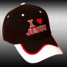 "SPIRITUAL CORNER Feather-Lite Adjustable Hat Cap ""I Love Jesus"" Black and White - 66-C10B"