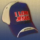 "SPIRITUAL CORNER Feather-Lite Adjustable Hat Cap ""I Love Jesus"" Blue and Tan - 66-C4A"