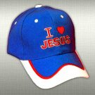 "SPIRITUAL CORNER Feather-Lite Adjustable Hat Cap ""I Love Jesus"" Blue and White - 66-C10A"