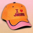 "SPIRITUAL CORNER Feather-Lite Adjustable Hat Cap ""I Love Jesus"" Orange and Pink - 66-C10D"