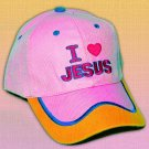 "SPIRITUAL CORNER Feather-Lite Adjustable Hat Cap ""I Love Jesus"" Pink and Orange - 66-C10C"