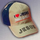"SPIRITUAL CORNER Feather-Lite Hat Cap ""I Love Jesus Prince of Peace"" Blue and Tan - 66-C4B"