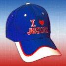 "SPIRITUAL CORNER Feather-Lite FIBER OPTIC Hat Cap ""I Love Jesus"" Blue and White - 66-104A"