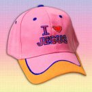 "SPIRITUAL CORNER Feather-Lite FIBER OPTIC Hat Cap ""I Love Jesus"" Pink and Orange - 66-104D"