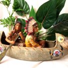 THE OLD WEST Stone Resin Two Indians and Canoe - 11-8239