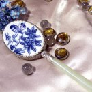 VANITY & PERFUME Hand Mirror Blue and White with Jade Handle - 1-30065