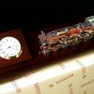 CLOCKS 1920's Steam Train Clock Mounted On Wood - 179-81488