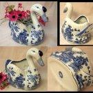 BLUE WILLOW Ceramic Large Swan Planter - 194-974396