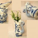 BLUE WILLOW Ceramic Tall Swan Pitcher - 194-973758