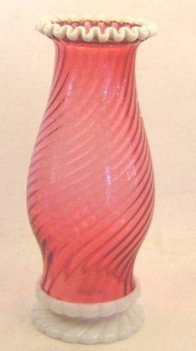 FENTON RUBY SNOWCREST HURRICANE LAMP