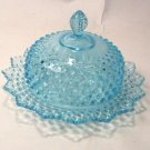 FENTON BLUE OPAL. HOBNAIL ROUND BUTTER DISH MADE FOR LEVAY