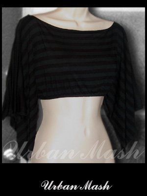 Deco Sexy Black Crop Top with Slitted Sleeves - size large - TLBK0002