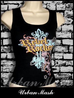Juniors REBEL ROCKER Tank Top - size large - TLBK0017
