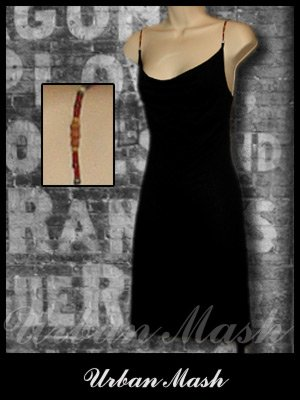 EXQUZ Black Cocktail Dress with Decorative Straps - size large - DLBK0003