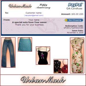 Anniversary Gift Certificate $50 - Urban Mash Boutique - Apparel & Accessories
