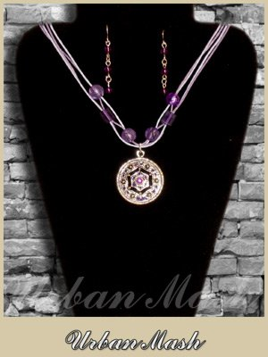 Silver Tone Purple beads Medallion & Earrings SET - A0004