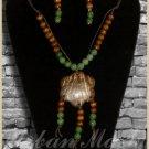 Wood Earthtone Beads Medallion & Earrings SET - A0005