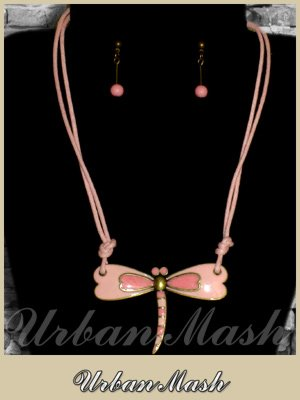 Bronze Cloisonne Dragonfly Necklace & Earrings SET - A0014