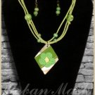 MOTHER OF PEARL Wood Beads Necklace & Earrings SET - A0008