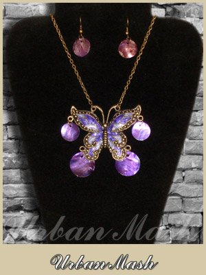 Bronze Cloisonne Butterfly Necklace & Earrings SET - A0007