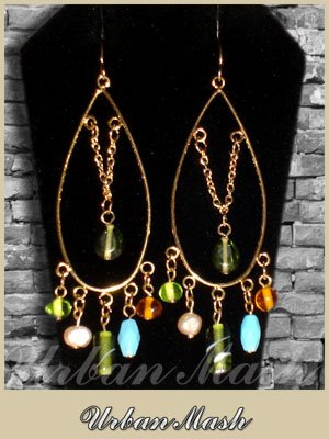 Antique Style Goldtone Oval Chandelier Earrings - A0010