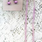 Cross Lavender Necklace on Suede NEW with Earrings