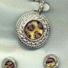 Animal Print Silver Pendant and Earrings Set