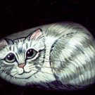 Gray And White Tabby Cat Handpainted River Rock OOAK