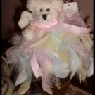 Shabby Romantic Teddy Bear Pastel Feathers OOAK Handcrafted