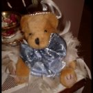 Handcrafted Shabby Victorian Feather Teddy Bear OOAK Blue Bow