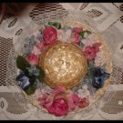Shabby Romantic Straw Hat Pearls Floral Decor Handcrafted