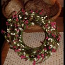 Primitive Country Pip Berry Wreath Green Red Berries