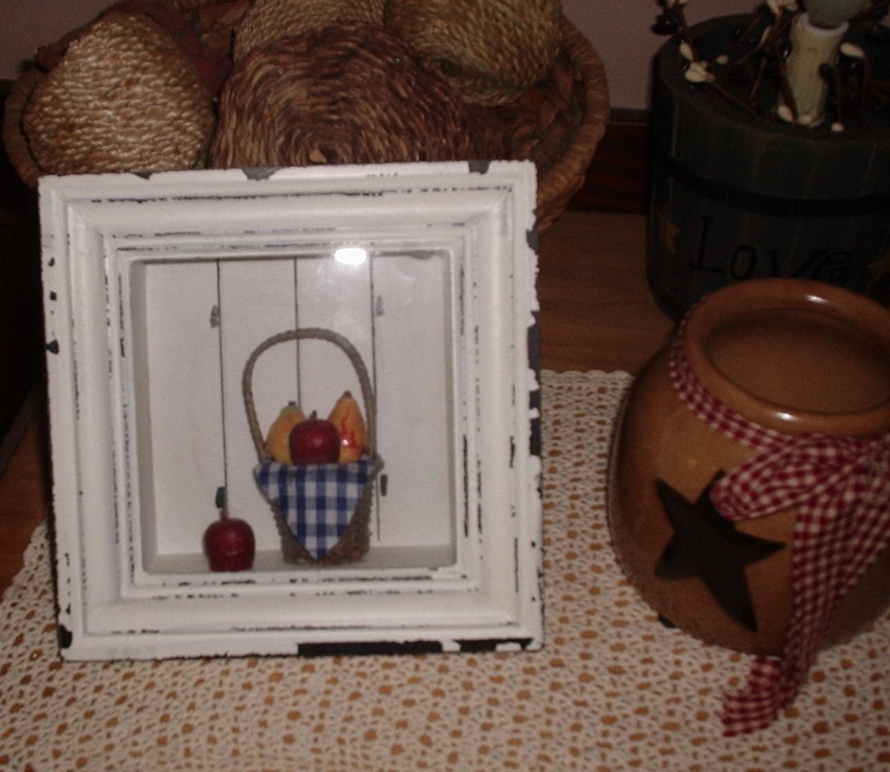Country Shabby Shadow Box Wicker Basket Fruit Dennis East Int