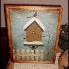 Primitive Grunge Picture Birdhouse Framed 9 X 12 Folk Art