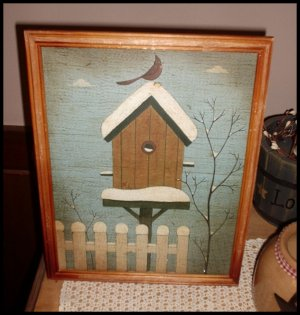 Primitive Grunge Picture Birdhouse Framed 9 X 12 Folk Art