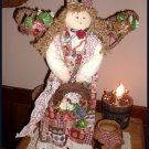 Country Primitive Angel Doll Grapevile Floral Decor 21""
