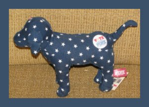 "7"" Victorias Secret Blue Vote for Pink Dog White Stars Stuffed Animal Plush MWT"