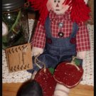Raggedy Andy Country Primitive Doll With Apples Homespun Collection