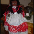 Black Americana Folk Doll Red Bandana Dress Country Prim