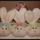 Darling Easter Bunny Three Rabbit Heads Wire Hanging