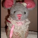 Shabby Victorian Vintage Pin Cushion Mouse OOAK Lace Pearls
