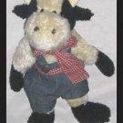 "Boyds Plush #91341 ANGUS McMOO 11"" Cow Denim Overalls"