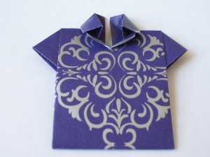 Origami Outfits � Chinese Mandarin Shirt - Purple & Silver
